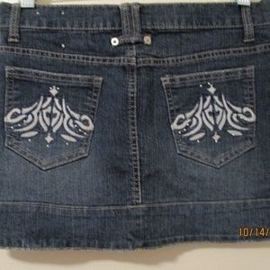 Juniors Jean Mini Skirt W Embroidering